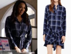THE FLASH: SEASON 2 EPISODE 11 IRIS' BLUE PLAID TIE-WAIST SHIRTDRESS