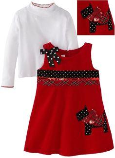 Bonnie Jean Toddler Girls Scottie Dot Corduroy Fall Jumper Dress Set Size 4T NEW #BonnieJean 24.99