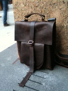 Unique Leather back pack rusack  - hand stitched leather - by Aixa. $365.00, via Etsy.