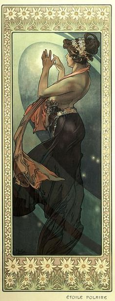 """The Pole Star"" ~ Alphonse Mucha ~ Click through the large version for a full-screen view (with a black background in Firefox). Set your computer for full-screen. ~ Mik's Pics ""Alphonse Mucha l"" board Art And Illustration, Art Nouveau Mucha, Alphonse Mucha Art, Mucha Artist, Poster Art, Kunst Poster, Illustrator, Jugendstil Design, Art Deco"