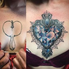 Before and after chest cover up. Tried to make it as small as possible so we don't have to do full chest piece. Very happy with outcome. Crystal heart tattoo. #tattoo #coverup #crystaltattoo #hearttattoo