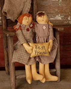 New Primitive Country Folk Art BEST FRIENDS Raggedy Ann Tea Stained Doll Pair #NaivePrimitive