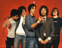 The Strokes in some vintage shirts and some Gap Jeans. Rock & Rolllll!