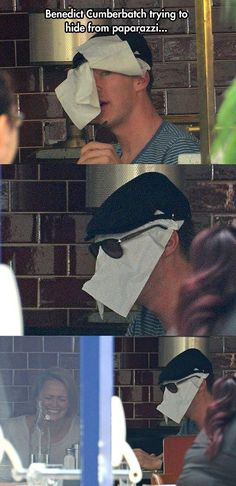 Benedict Cumberbatch trying to hide from paparazzi. Benedict Cumberbatch trying to hide from paparazzi. Johnlock, Dc Memes, Funny Memes, Hilarious, Funny Quotes, Funny Videos, Marvel Jokes, Marvel Funny, Marvel Avengers