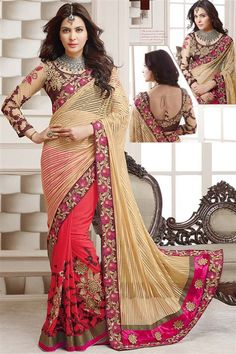 Golden, Red Net, Georgette Designer party wear saree