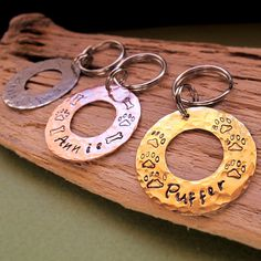 Personalized Dog Id Tag  Hand Stamped Name / Paw by ArtisanPetTags, $12.00