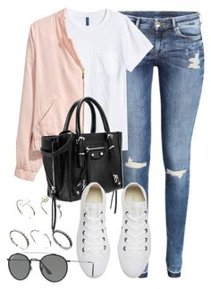 """""""Sin título #12408"""" by vany-alvarado ❤ liked on Polyvore featuring H&M, Converse, Ray-Ban and ASOS"""