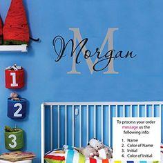 Morgan Wall Decal Childrens Personalized Name - Childrens Wall Art - Boys Name Wall Decal - Monogram - Nursery Decor Vinyl http://www.amazon.com/dp/B00BCRP01O/ref=cm_sw_r_pi_dp_Sng5vb0GG8CZT