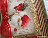 Handmade Victorian Christmas Greeting Card of a Beautiful Vintage Inspired Young Woman Dressed in Red for the Holidays
