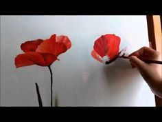 Dipingere una rosa - How to paint a rose Acrylic Painting Tutorials, Painting Videos, Diy Painting, Poppy Flower Painting, Flower Art, Cactus Flower, Canvas Art Projects, Watercolor Poppies, Poppies Painting