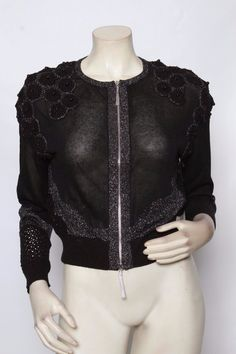 Rondina Designer Black Pearl Crochet Cardigan Sweater Xs S M L Xl * Nwt $485