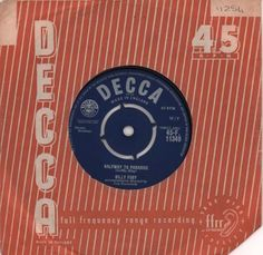 "Billy Fury Halfway To Paradise 1961 UK 7"" vinyl 45-F.11349: BILLY FURY Halfway To Paradise (1961 UK 7 vinyl single with intact four prong…"