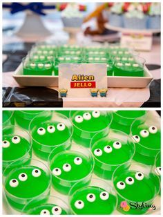 """Toy Story dessert table treat.  """"we are eternally grateful"""" aliens"""