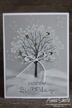 Winter Sheltering Tree Card using the Sheltering Tree and Cottage Greetings stam. Winter Sheltering Tree Card using the Sheltering Tree and Cottage Greetings stamp sets Holiday Cards, Christmas Cards, Karten Diy, Stamping Up Cards, Noel Christmas, Winter Cards, Happy Birthday Cards, Card Birthday, Cool Cards