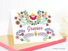 Fiesta Thank You Card Gracias Card Printable Instant