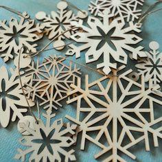 laser cut wood snowflake ornaments