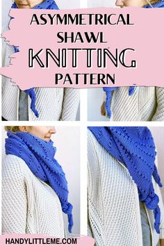 Asymmetrical shawl knitting pattern. Knit with a simple pattern repeat. A great project for anyone who is new to shawl knitting. #shawl #shawlpattern #freepattern #knittingpattern #knittedshawl #springknits Beginner Knitting Projects, Knitting Basics, How To Start Knitting, Knitting For Beginners, Scarf Patterns, Stitch Patterns, Crochet Patterns, Simple Pattern, Free Pattern