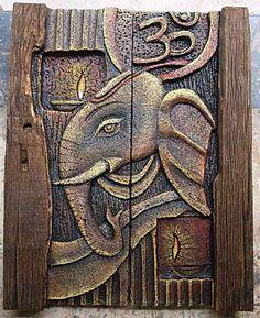 Mural Wall Art, Mural Painting, Ganesha Painting, Buddha Painting, Wall Sculptures, Sculpture Art, Foam Carving, Elephant Art, Clay Paint