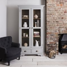Canterbury Display Cabinet Dresser in Dark Pine and Grey