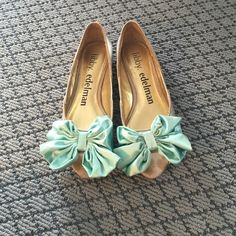 Libby Edelman flats. Size 7 1/2. Silver flats with teal bow. Still in good shape worn a couple times. Libby Edelman Shoes Flats & Loafers