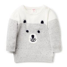 100% Cotton Sweater. Knitted, intarsia bear face sweater with 2x2 rib cuffs, neck and hem. Regular fitting silhouette with snaps on baby