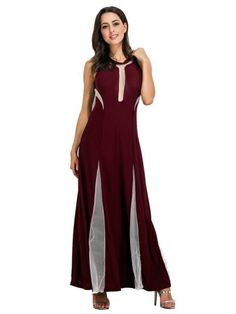 Sexy dresses online sexy see-through stitching sleeveless o-neck party maxi dress for women #sexy #dresses #cheap #sexy #dresses #coupon #code #sexy #dresses #ebay