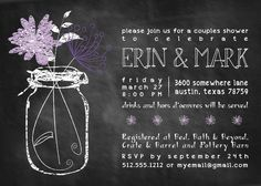 Chalkboard Mason Jar Wedding Shower Invitation by HowdyDooPrints, $15.00