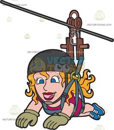 A Joyful Zip Lining Woman : A woman with orange blonde hair wearing a fuchsia shirt shorts olive green gloves dark gray helmet blue shoes smiles while zip lining Travel Clipart, Green Gloves, Zip Lining, Vector Illustrations, Blue Shoes, Joyful, Olive Green, Blonde Hair, Helmet