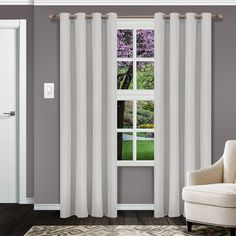 Ebern Designs Kinlaw Blackout Thermal Grommet Panel Pair Curtain Color: Chrome, Size per Panel: W x L Rod Pocket Curtains, Grommet Curtains, Drapes Curtains, Curtains Living, Blackout Panels, Blackout Curtains, Insulated Panels, Curtain Sets, Curtain Panels