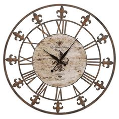 Weathered wrought iron wall clock with Roman numerals and fleur-de-lis detail. Suitable for indoor or outdoor use.Product: Clock