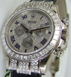 ROLEX - 18kt White Gold Daytona Full Diamond Pave Roman - Model - 116599…