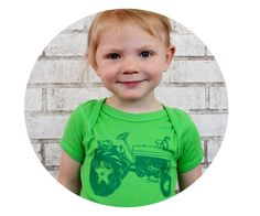 Short Sleeved Tractor Baby Onepiece Hand Printed by CausticThreads, $18.00