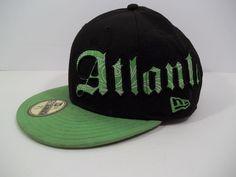 ATLANTA BRAVES New Era 59Fifty Black & Green Fitted Cap Hat - Size 7 1/2 #NewEra #BallCap