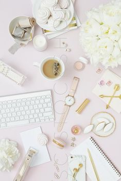 Elevate your brand with styled stock photography for creative business owners. Take 40% off during the July 4th weekend sale. Pink on Pink Desk Flat Lay Collection #06