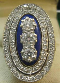 Amazing early Victorian guilloche enamel rose diamonds antique diamonds ring 18c