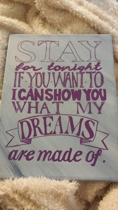 Above is canvas lyric art from a famous Sleeping with Sirens song!  This is the perfect gift for anyone who loves the band.  If you would like any