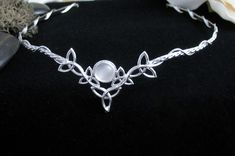 Celtic Triquetra Headpiece w/ Stone - Camias Jewelry Designs Specializing in Wedding Circlets, Bridal Headpieces, Celtic Circlets, Bracelets...