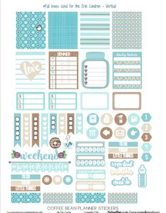 Free Printable Coffee Bean Planner Stickers from Vintage Glam Studio