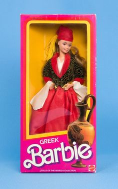 Vintage Barbie 1985 DOTW Greek Superstar Face Authentic Costume NRFB MIB #Mattel