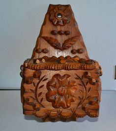 Antique Pine Tramp Folk Art Salt Wall Box Primitive | eBay