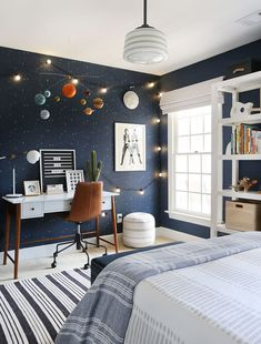 Out of This World: A Kid's Bedroom Gets A Celestial-Inspired Upgrade - Front + Main Kid's Outer Space Bedroom - West Elm . Outer Space Bedroom, Boys Space Bedroom, Boy Room Paint, Boys Room Paint Ideas, Cool Boys Room, Painting Kids Rooms, Boys Bed Room Ideas, Bedroom Ideas Paint, 4 Year Old Boy Bedroom