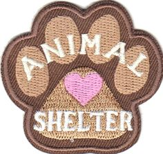 """Amazon.com: [Single Count] Custom and Unique (2"""" Inches) Animal Lover Household Pets """"Animal Shelter"""" Dog Paw and Heart Iron On Embroidered Applique Patch {Brown, White, and Pink Colors}"""