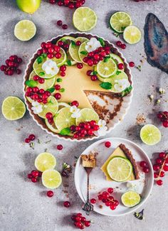 lime tart with red currants