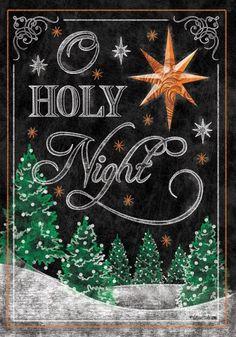 "sutton15445: "" christmas-waltz: "" O HOLY NIGHT Star of Bethlehem Christmas Chalkboard 28""x 40"" House Flag "" http://www.PaisleyBeading.etsy.com """