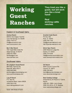 A list of real working guest ranches in IDaho where you can get a true western experience...no gym required :)