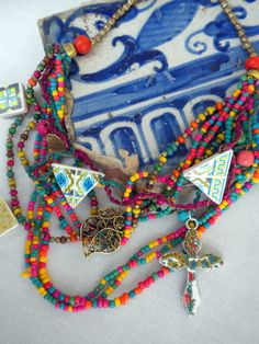 Colors of PORTUGAL Azulejos Necklace Tile Replicas and by Atrio, $48.00