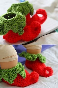 Free crochet elf slipper pattern. Make some last minute gifts with these free crochet patterns.