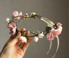 Wish  Light Pink Flower Crown Wedding Hair Garland by JosKii, €48.00