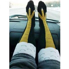 These socks are a CLUCK! Hey Fitness people, slip into our Chicken Leg Knee-High Socks. Do people make fun of your chicken legs? Well show them your best WOD skills one of a kind conversation starters. Funny Socks, Cute Socks, My Socks, High Socks, Awesome Socks, Foot Socks, Bodybuilding Humor, Crazy Socks, Happy Socks
