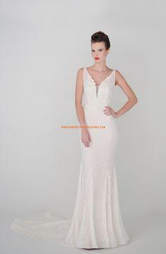 Robe de mariée sirène col V dentelle perles 2015